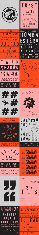 Espace Little Burgundy for POP Montreal on Behance design layout poster branding color palette