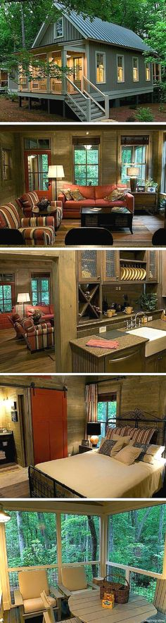 Best Home Architecture Styles Cottages Tiny House 50 Ideas Little Cabin, Cabins And Cottages, Small Cabins, Small Cottages, Tiny Log Cabins, Tiny House Living, Small Living, Living Single, Tiny House Cabin