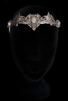 Elven Crown Circlet Wedding Tiara Bridal Elvish Fairy Medieval Fantasy White Opal Queen Silver Elf Moon Goddess Jewellery