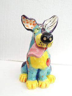 Original Handmade Ceramic Dog Sculpture by Dottie Dracos, READY TO SHIP on Etsy, $75.00