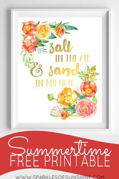 Snag this colorful summertime free printable art at Sparkles of Sunshine today!