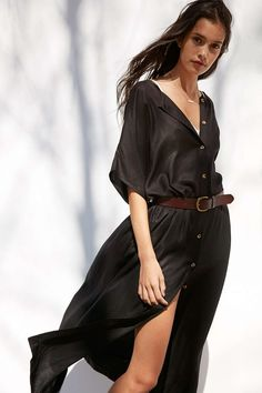 Vetiver Patti Oversized Button-Front Maxi Dress - Urban Outfitters