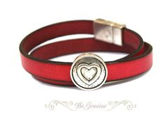 Red leather double wrap bracelet with silver plated heart and magnetic clasp -- Evidently I'm on a red leather bracelet kick.  Forgive me?