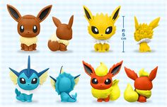 Pokemon Eevee, Jolteon, Vaporeon, Flareon「ちびきゅんキャラシリーズ」 人気のポケモンたちが、かわいいフィギュアになって登場!  ポケットモンスターオフィシャルサイト