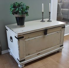 Home Frosting: Ikea Pine Chest Makeover I would love to do something similar with out hideous blanket chest. Though it's huuuuuuge....