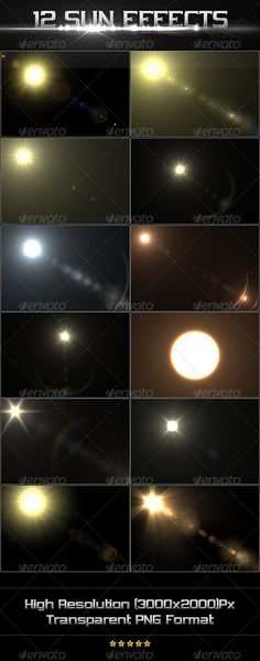 12 Sun Effects  #GraphicRiver        Photoshop's default Lens Flare is pretty boring. If you want to bring some Awesomeness in your design, you may need some cool Lens Flares. For that reason, you may use this product into your design. Specification:   High Resolution (3000×2000)px  12 png Files  Transparent PNG Files  Total 12 Different Effects  If you like my product please rate it & share it via emails, social websites etc. This will help me a lot. Thanks! Check Out Our Other Works…