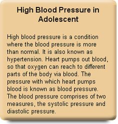 High Blood Pressure in Adolescents Blood pressure is measured by putting a blood pressure cuff on the arm and placing a stethoscope on the chest. There can be very little variation in blood pressure depending upon the time, emotional moods, age, gender, weight, height, physical activity, stress and other illness such as heart disease and kidney disease.