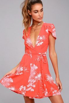 #Lulus - #Lulus Rollas Dancer Coral Red Floral Print Wrap Dress - AdoreWe.com