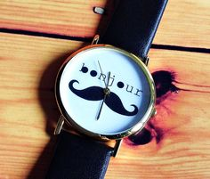Hey, I found this really awesome Etsy listing at https://www.etsy.com/listing/164078718/sale-bonjour-moustache-watch-vintage