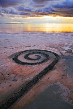 This started my love with Earth Works back in the day. I want to see it so bad but it's not always visible due to water levels. Robert Smithson. The Spiral Jetty