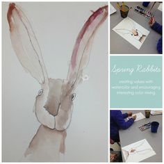 Spring Rabbits - creating values with watercolors and encouraging interesting neutrals