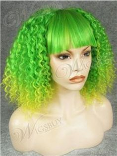 Nicki Minaj Hairstyle Green with Little Yellow Long Curly Capless Wig with Full Bangs about 18 inches Item # W2027  Original Price: $424.00 Latest Price: $83.19