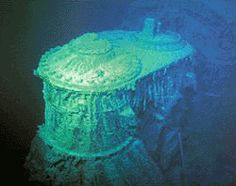 The same cylinder as the photo before this one, but viewed at the break in the hull and at the bottom of the ocean.
