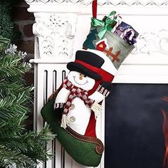 Christmas Stocking Snowman Adorable Lovely Ornament Xmas Holiday Decoration for sale online Christmas Snowman, Christmas Stockings, Xmas Holidays, Xmas Gifts, Ornaments, Luxury, Holiday Decor, Bag, Home Decor