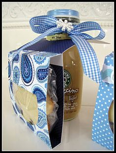 inspiration idea for cute packaging of bottled beverage and snack together... could do cookies with milk, lemonade or coffee OR soda, water, or lemonade with a salty snack - chips or nuts... this could be turned into a favor/place card piece for an outdoor event too