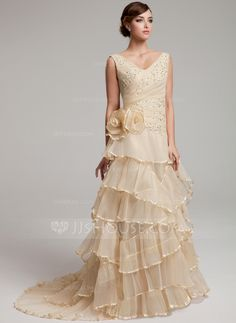 A-Line/Princess V-neck Sweep Train Organza Wedding Dress With Lace Beading Flower(s) Cascading Ruffles Pleated (002017527)