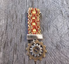 """Tan, Gold & Green Clockpunk Steampunk Medal, Braided """"Ribbon"""" & Gears; for: Lapel or Collar Pin, Brooch or Decoration for Bag, Belt, Pack, Sash, Epaulets, Jacket"""