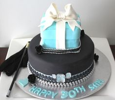 Birthday Cakes For Women | Two tier 30th birthday cake with round black bottom with pearls and ...