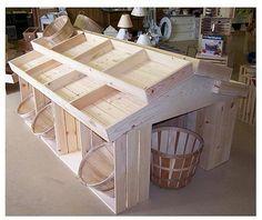 Inspiration no instructions - Wooden Crate Floor Display, Wood Crates, Wood Display, Produce Displays, Craft Displays, Workshop