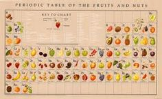 Periodic table of fruits and nuts