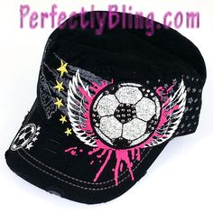 BLING SOCCER BALL WITH WINGS CAP - HAT - ACCENTED BLACK