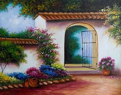 Cactus Painting, House Painting, Colombian Culture, Small Courtyard Gardens, Mexican Art, Cover Photos, Painted Rocks, Flower Art, Landscape Paintings