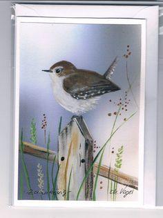 Grüße - Grußkarte- Zaunkönig, handgemalt - ein Designerstück von Vogelmalerin bei DaWanda