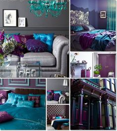 One room bedroom apartment bedroom colors purple bedroom bed headboard Peacock Living Room, Living Room Turquoise, Teal Living Rooms, Bedroom Turquoise, Living Room Decor, Peacock Bedroom, Dining Room, Bedroom Colors Purple, Purple Bedroom Design