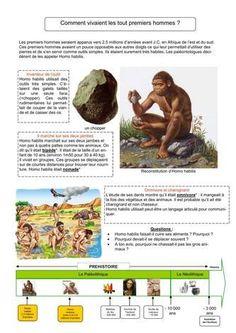 5 fiches sur la préhistoire (Classe de François)