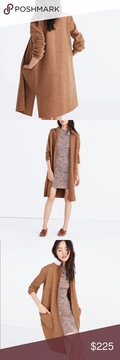 """Madewell Camden Sweater-Coat in Black """"Part sweater, part coat, all awesome. Swingy and long, this cardigan is one to wear solo on brisk nights or layer up when the temps drop. Boiled wool. Dry clean."""" Slightly oversized. NWT. Never worn. Madewell Jackets & Coats"""