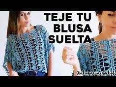 CÓMO TEJER BLUSA A CROCHET: teje una blusa suelta a crochet en punto calado | tutorial paso a paso - YouTube Crochet Cardigan Pattern, Crochet Tank, Crochet Blouse, Free Crochet, Knit Crochet, Crochet Patterns, Freeform Crochet, Crochet Stitches, Crochet Videos