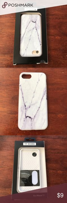NIB iPhone 7 Bumper Protective Case - Marble End Scene iPhone 7 Bumper Protective Case with a pretty white/light grey marble pattern. 2 piece slim fit for easy assembly. Still in packaging. End Scene Accessories Phone Cases
