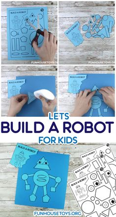 robot craft preschool This super simple exercise is not just fun but also gets your child to learn shapes. Its also a great scissor skills practice. We created 4 different robots you can craft. Preschool Learning Activities, Toddler Learning, Toddler Activities, Preschool Activities, Learning Shapes, Fun Learning, Learning Spanish, Fun Crafts For Kids, Projects For Kids