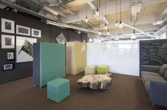 Brainstorm Area Office PON Tilburg, Netherlands by WIES | bureau voor ruimtelijk ontwerp #office #interiordesign #color #febrikfabrics #pinboard #whiteboard #blackboard