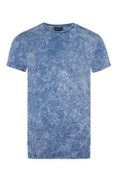 Festival Fashion Essentials: Men's Blue Acid Wash Roll Sleeve T-Shirt.