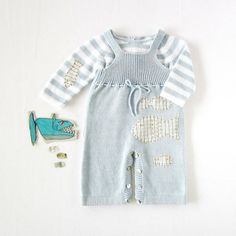 Knitted overalls with straps with fishes. Striped by tenderblue, $90.00
