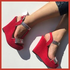 ✨Host Pick✨ Hot Red Wedge Suede Shoes with Sequins Hot red suede wedges with sliver sequins. Brand new with tag. About 5 inches high. Cute for parties or dressy outfits ✨🍷💃🏼 Shoes Wedges