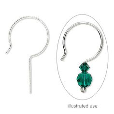 Earwire, sterling silver, 30mm French hook with 14mm shank, 21 gauge. Sold per pkg of 5 pairs.