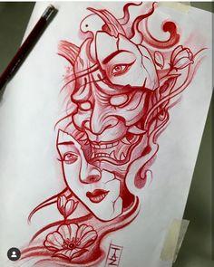 Face Tattoos, New Tattoos, Body Art Tattoos, Japan Tattoo Design, Clock Tattoo Design, Japanese Mask Tattoo, Japanese Tattoo Designs, Hanya Tattoo, Oni Mask Tattoo
