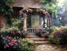 painting by Paul Guy Gantner Garden Painting, Garden Art, Guy, Korean Artist, Abstract Backgrounds, Art Sketches, Landscape Paintings, Dance Paintings, Landscapes