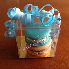 Two French macarons beautifully packaged. Great for wedding or party favour.