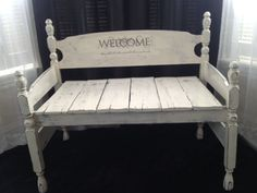 Shabby Chic Country Cottage Style Bench Seat From by SameAsNever, $325.00