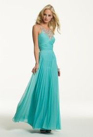 Beautiful long chiffon prom dress that shows a bit of skin, but still very elegant with the beaded neckline!