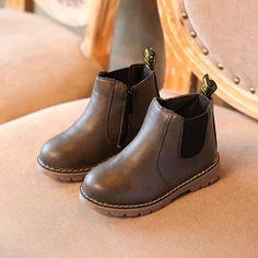 Enfants garçons filles Rétro Bottes Haute Cheville Chaussures de Neige Brun 25 oBsoTTz