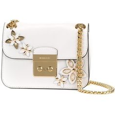 "Michael Michael Kors ""Flowers"" Bag found on Polyvore featuring bags, handbags, shoulder bags, white, white purse, leather handbags, white leather purse, leather cross body purse and white crossbody handbags"