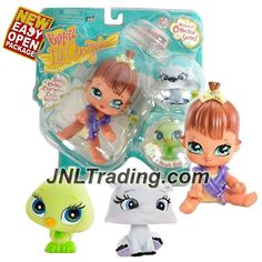 MGA Entertainment Bratz Lil Angelz Series 4 Inch Doll with 2 Pets Set - MEYGAN (#95), Polar Bear (#101) and Green Canary (#247)