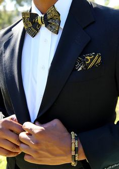 Black & Gold Tribal Bow Tie Set by MenoguDesigns on Etsy Afro, Gold Bow Tie, Wedding Ties, Wedding Stuff, Gold Wedding, Wedding Dresses, Wedding Bells, African Men, African Attire