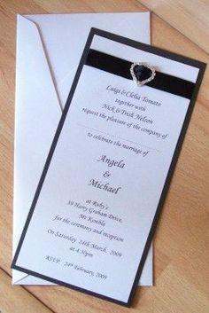 60 WEDDING INVITATION DIY KIT - BLACK & WHITE DL SLIDE on eBay!