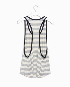 Graham Racerback Tank in Grey and White Stripes with Black Trim