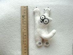 Купить Брошь Кот Саймона Simon,s Cat валяный из шерсти - брошь